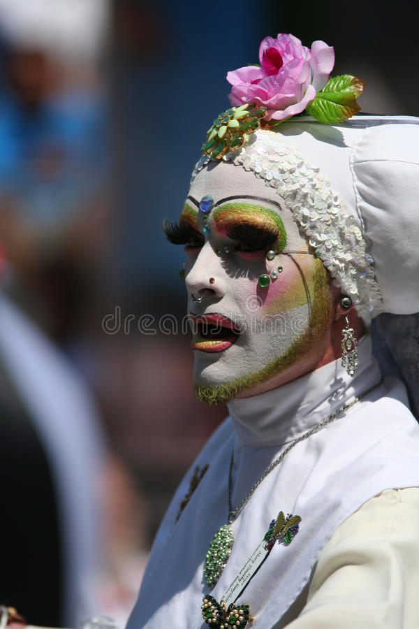 Male Nun White Habit Gay Parade SF stock images