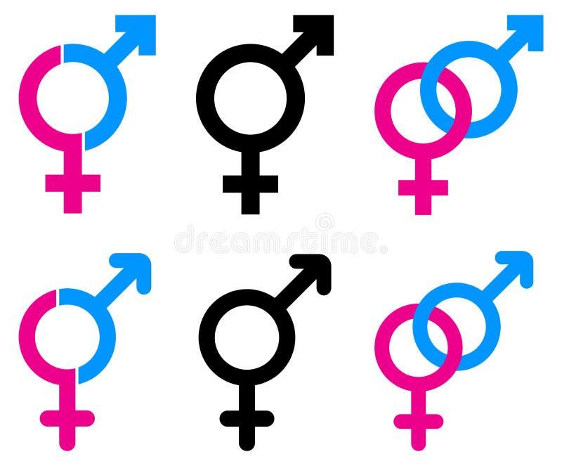 Male och kvinnliga symboler royaltyfri illustrationer