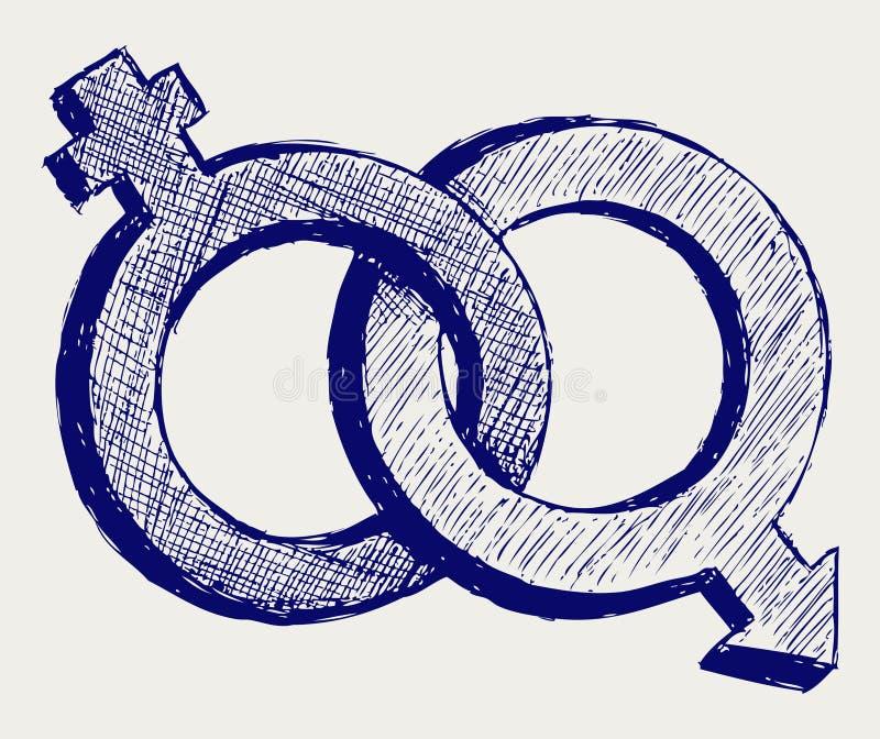 Male och kvinnligsexsymbol vektor illustrationer