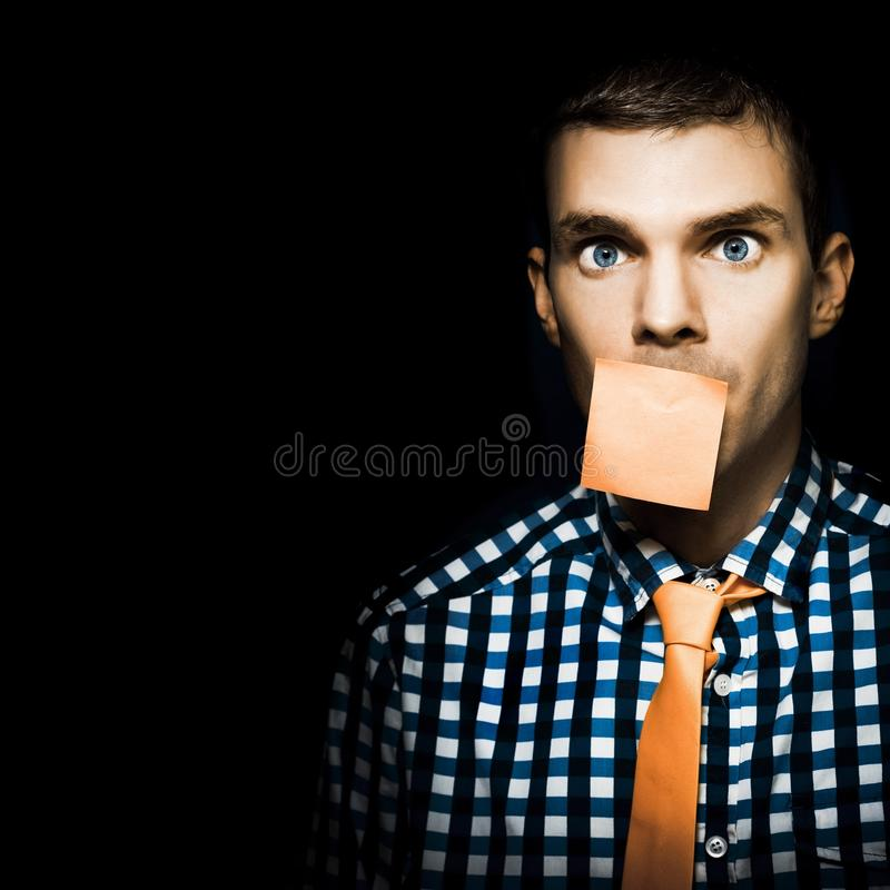 Download Male Office Worker With Blank Orange Sticky Note Stock Photo - Image: 25343628