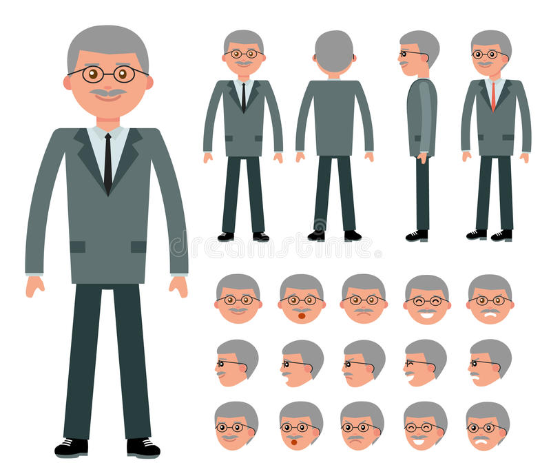 Male old businessman character constructor for different poses. Set of various men`s faces and emotions. Cartoon vector flat-style illustration royalty free illustration