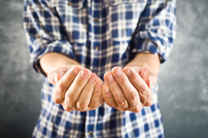 Male open hands for begging stock photography