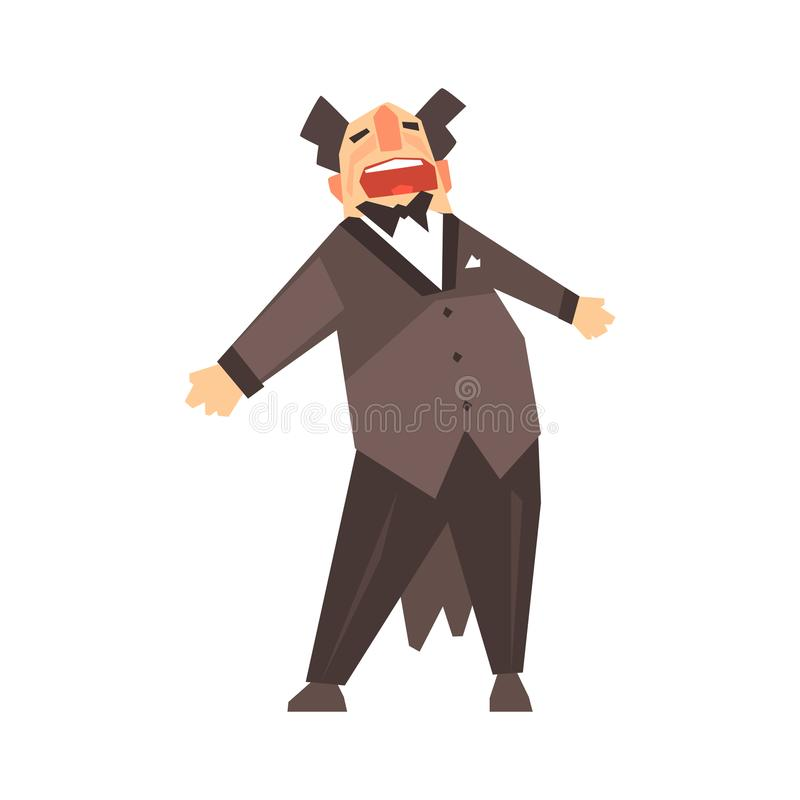 Male opera singer character cartoon vector Illustration. On a white background royalty free illustration