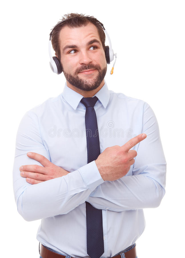Male operator showing empty copyspace. Male operator with headset showing empty copyspace on white background stock photography