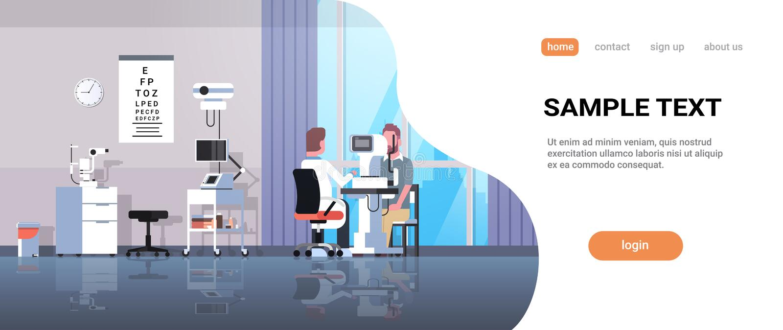 Male ophthalmologist checking patient vision doctor in uniform making eye surgery laser correction medicine and. Healthcare concept oculists office interior vector illustration