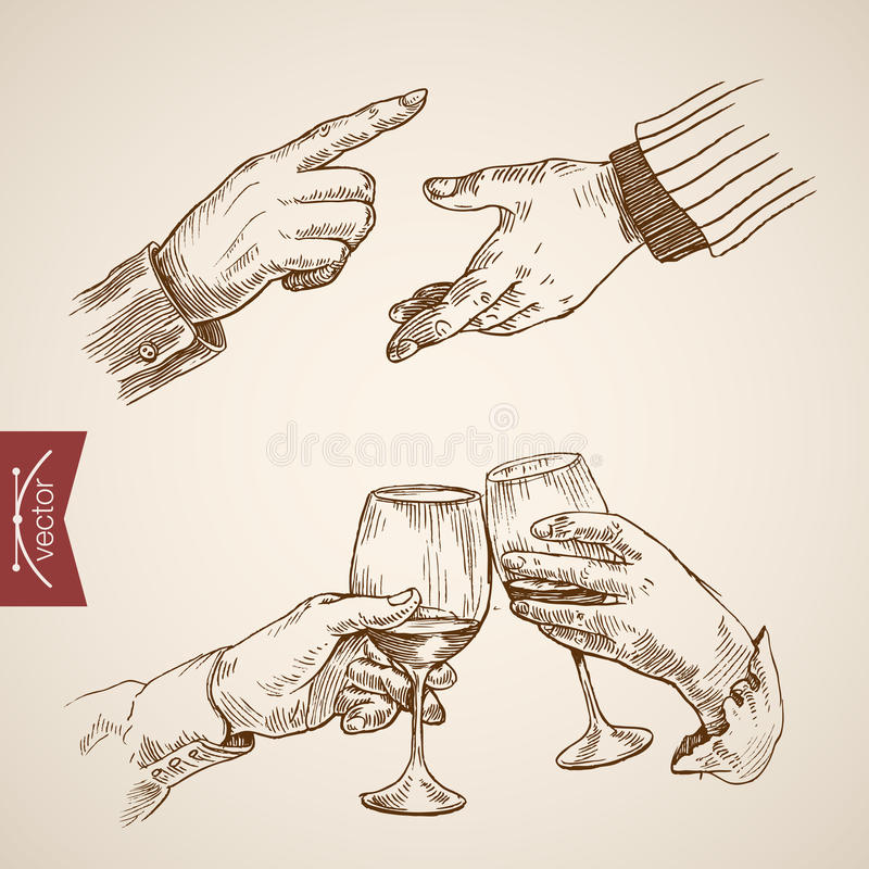 Male outstretched extended hand clink engraving vintage vector. Male outstretched extended hand point outstretched extended clink champagne glasses icon set vector illustration
