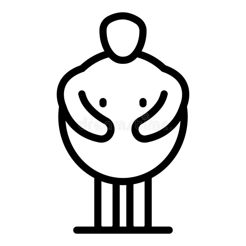 Male overweight icon, outline style stock illustration