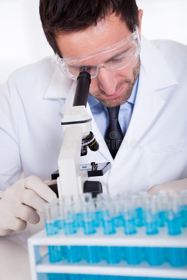 Pathologist Or Lab Technician Using A Microscope Royalty Free Stock Image