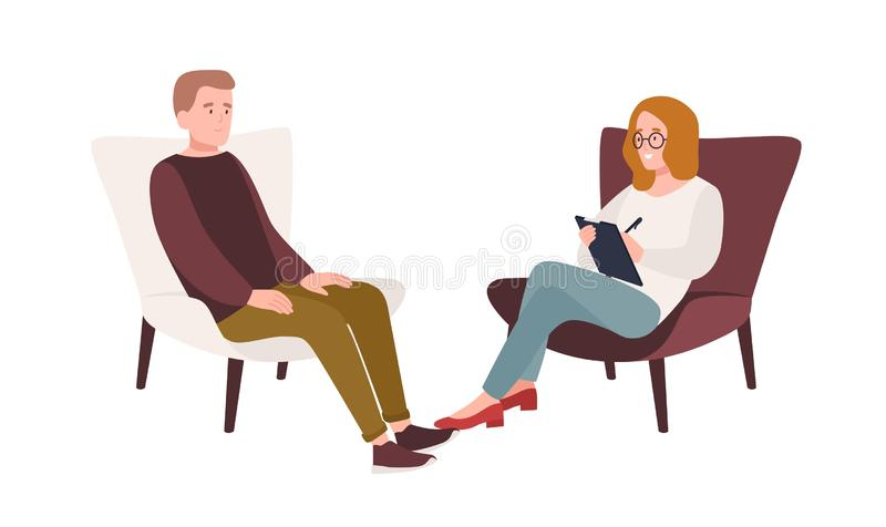 Male patient in armchair and female psychologist, psychoanalyst or psychotherapist sitting in front of him and talking royalty free illustration