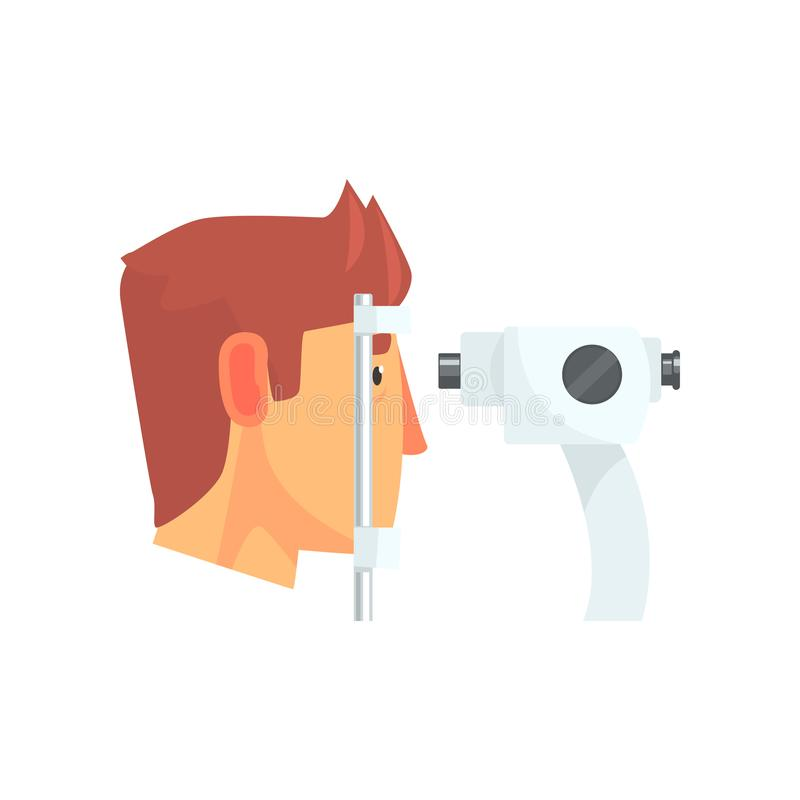 Male patient doing eye test in eyesight ophthalmological correction clinic cartoon vector Illustration. On a white background royalty free illustration