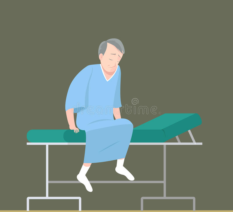 Male patient on examination bed. Illustration of male patient on examination bed stock illustration
