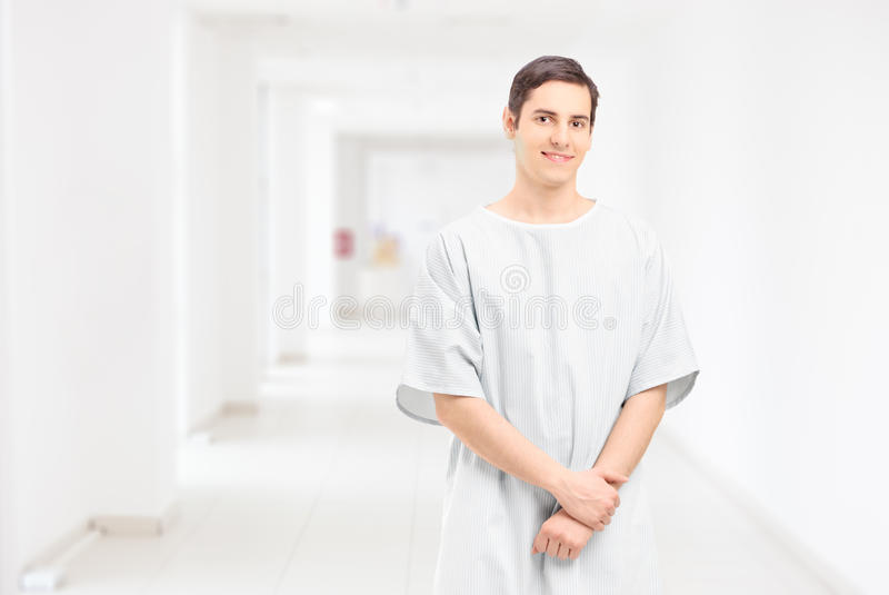 Male Patient Posing In A Hospital Corridor Royalty Free Stock Photography