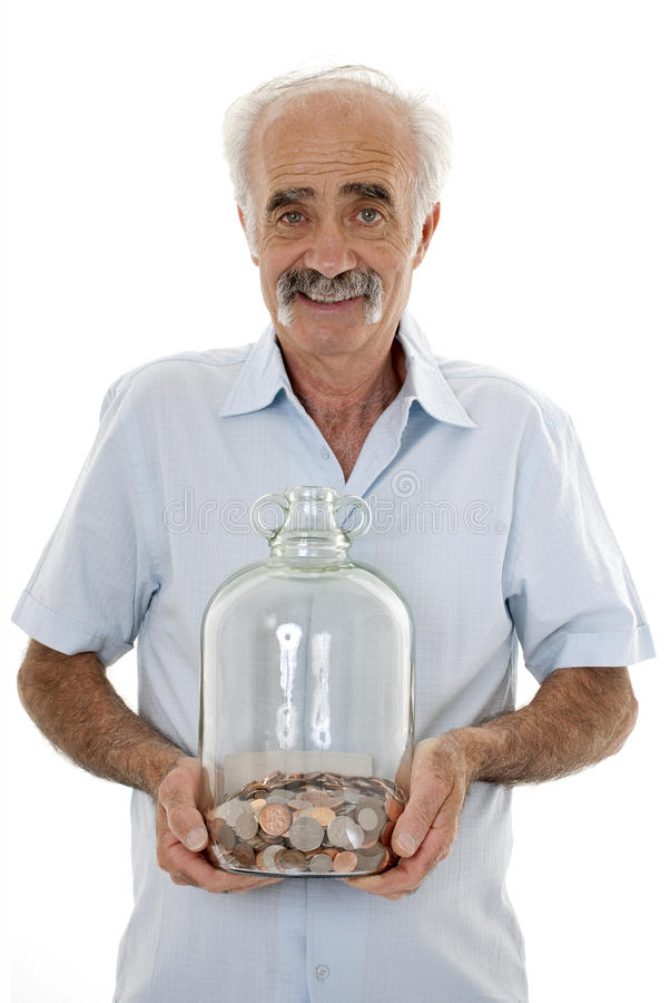 Male pensioner with savings royalty free stock photos
