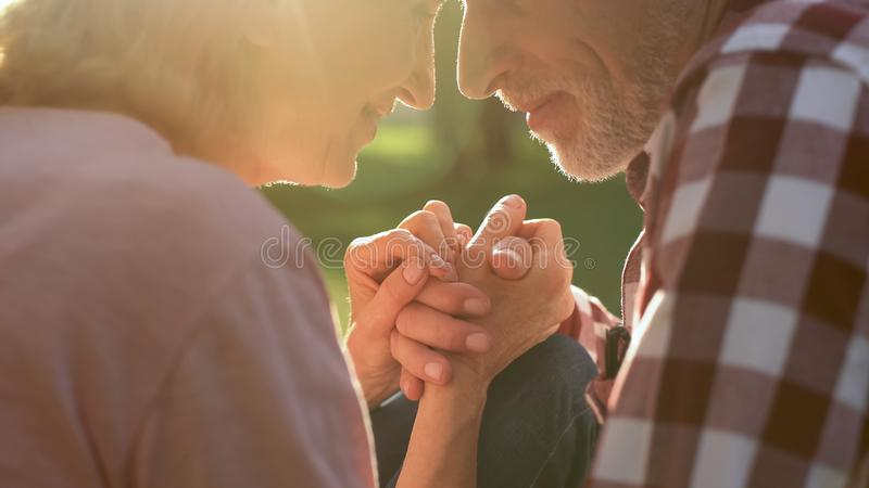 Male pensioner tenderly holding female hand on romantic date in park, closeup stock images