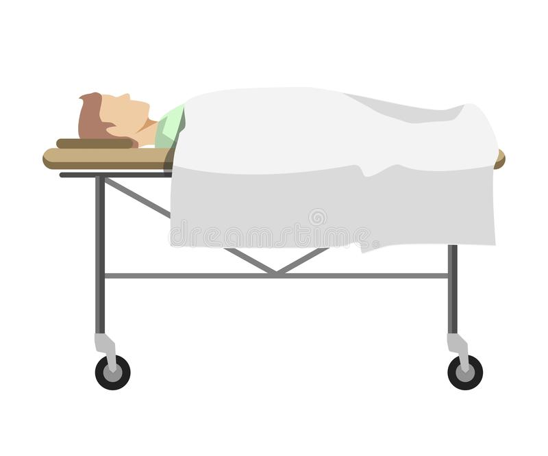 download male person lying on medical table with wheels stock vector image