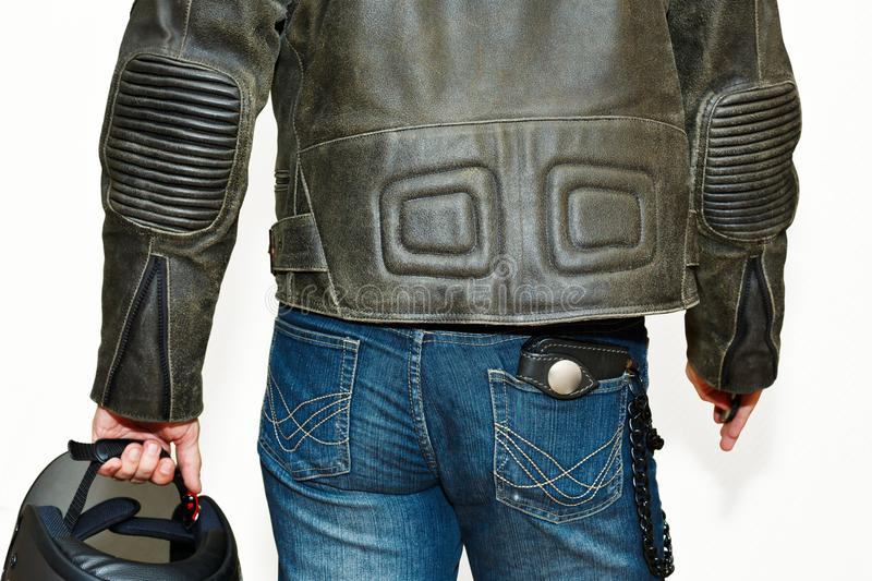 Male person in motorcycle protective equipment royalty free stock images