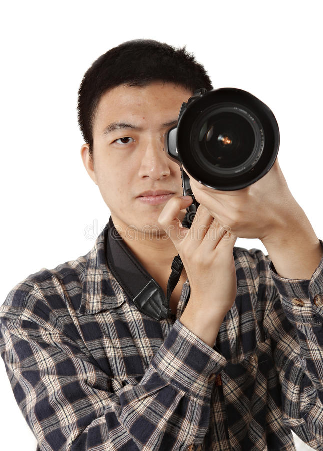 Male Photographer Holding Camera Stock Photo
