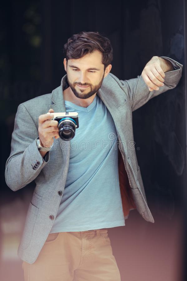 Male photographer with camera stock image