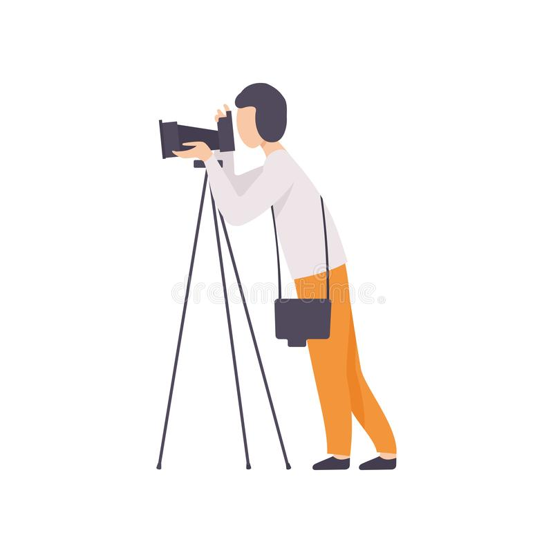 Male Photographer Taking Photo Using Professional Equipment, Cameraman Character Making Picture Vector Illustration stock illustration