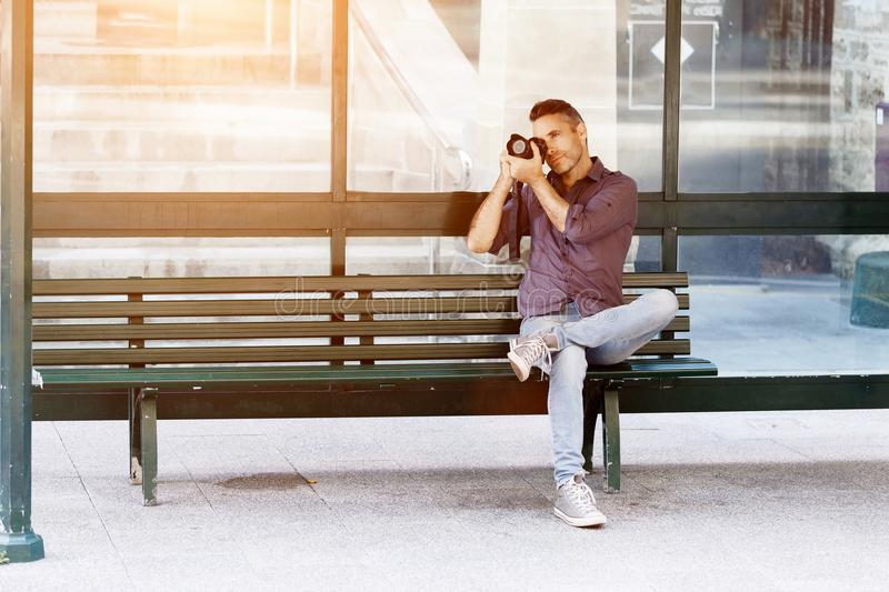 Male photographer taking picture royalty free stock images
