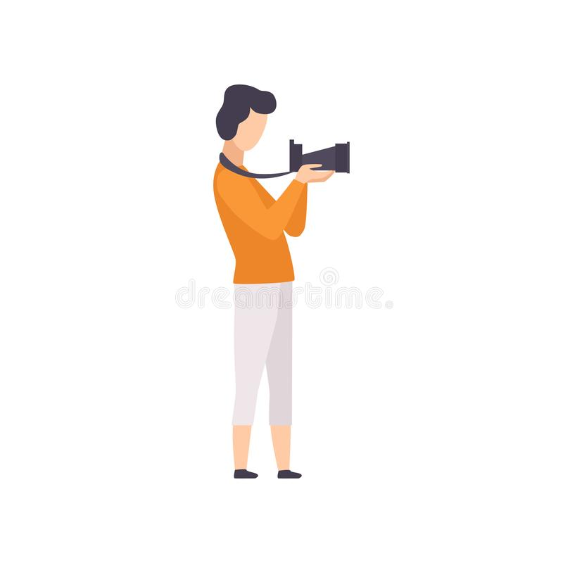 Male photographer working with camera, guy taking photo with camera vector Illustration on a white background. Male photographer working with camera, guy taking vector illustration