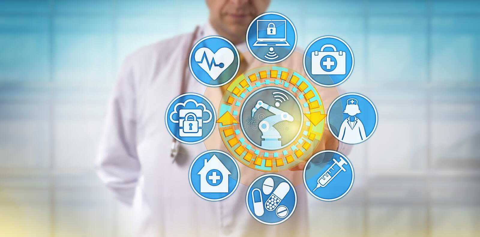 Male Physician Operating Surgical Robot Via App. Unrecognizable male physician is plugging a surgical robot into a health care application interface. Healthcare stock photos