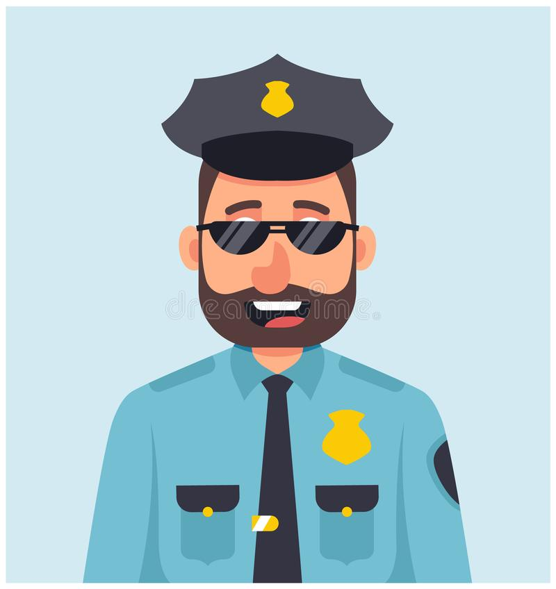 Male policeman with glasses vector illustration