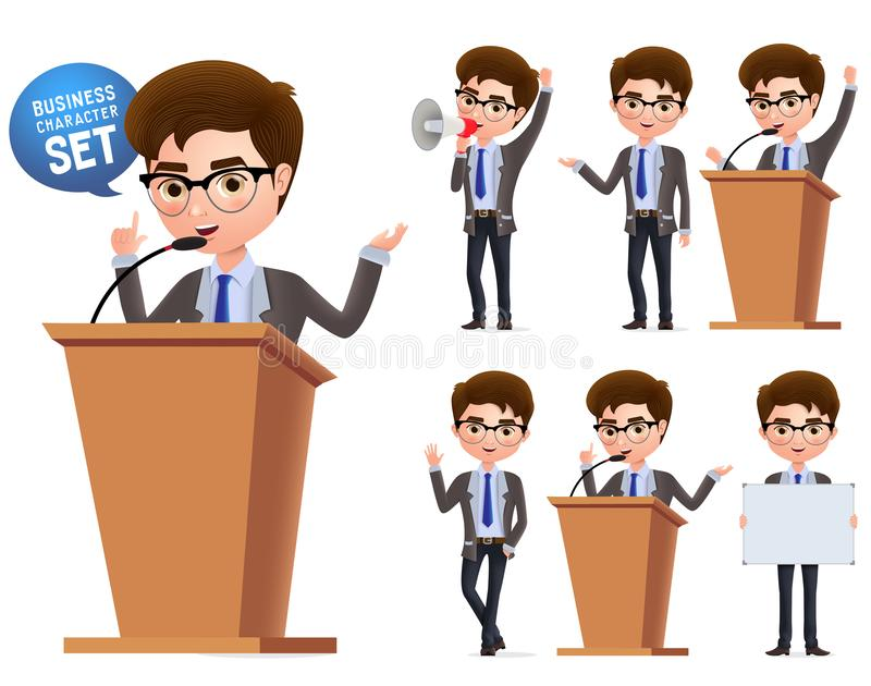 Male politician vector characters set. Business character  or politician speaking politics and standing. In podium isolated with microphone in white background stock illustration