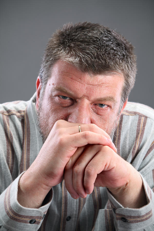 Male portrait. Portrait of mature Caucasian man looking to camera stock images