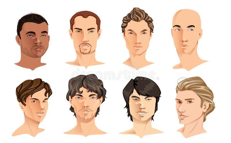 Male Portraits stock illustration