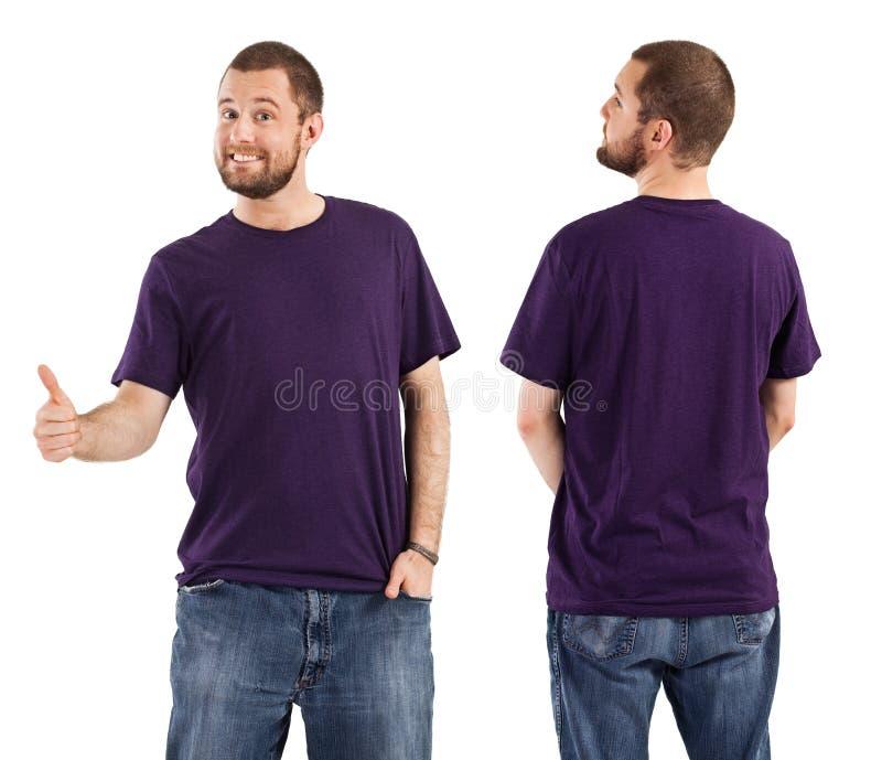 Male posing with blank purple shirt stock photos
