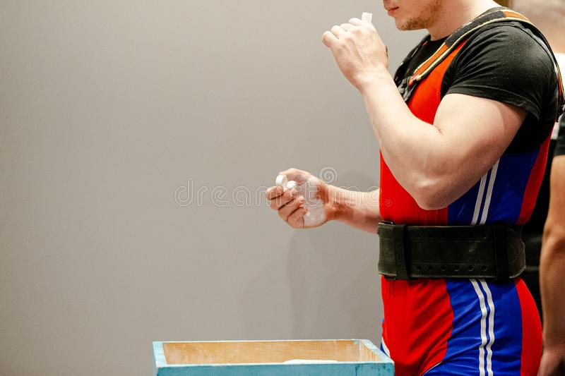 male powerlifter inhales smelling salts royalty free stock photos