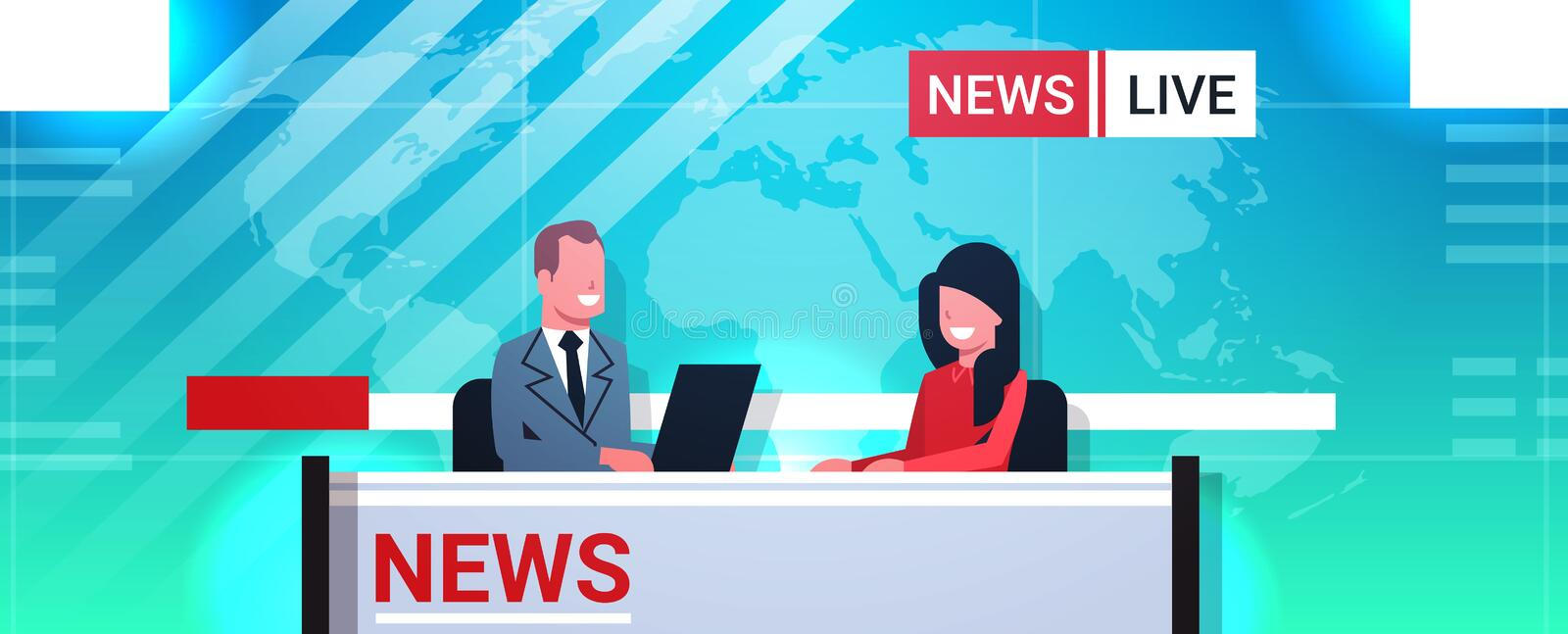 Male presenter interviewing woman in television studio tv live news show video camera shooting crew broadcasting concept. Flat portrait horizontal vector stock illustration