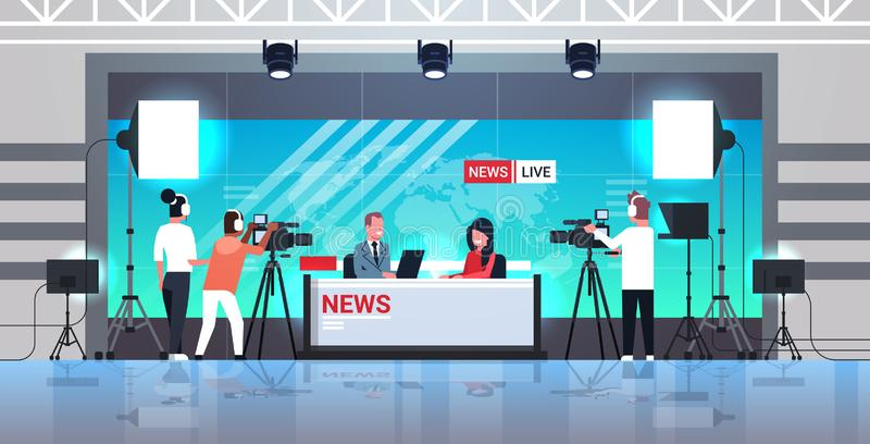 Male presenter interviewing woman in television studio tv live news show video camera shooting crew broadcasting concept. Flat full length horizontal vector stock illustration