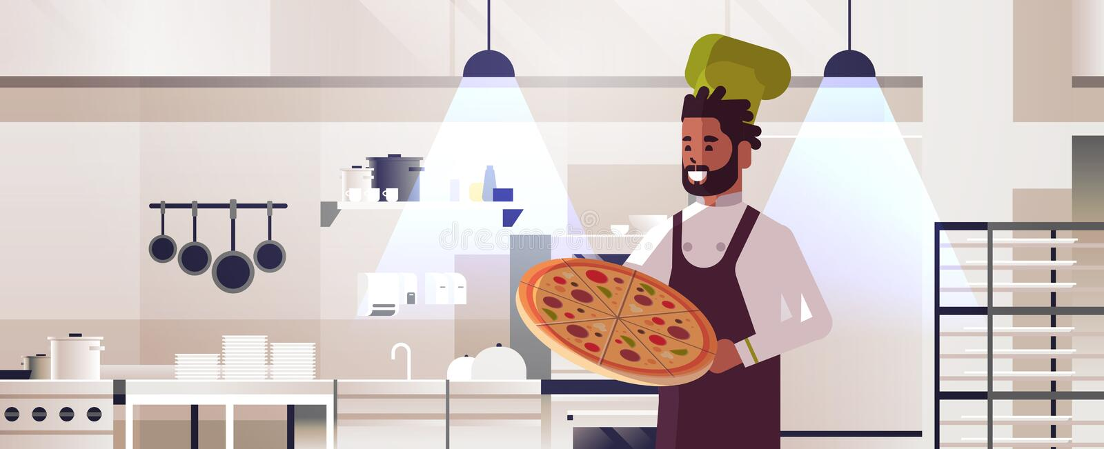 Male professional chef cook holding fresh pizza african american man in uniform cooking food concept modern restaurant. Kitchen interior flat portrait royalty free illustration