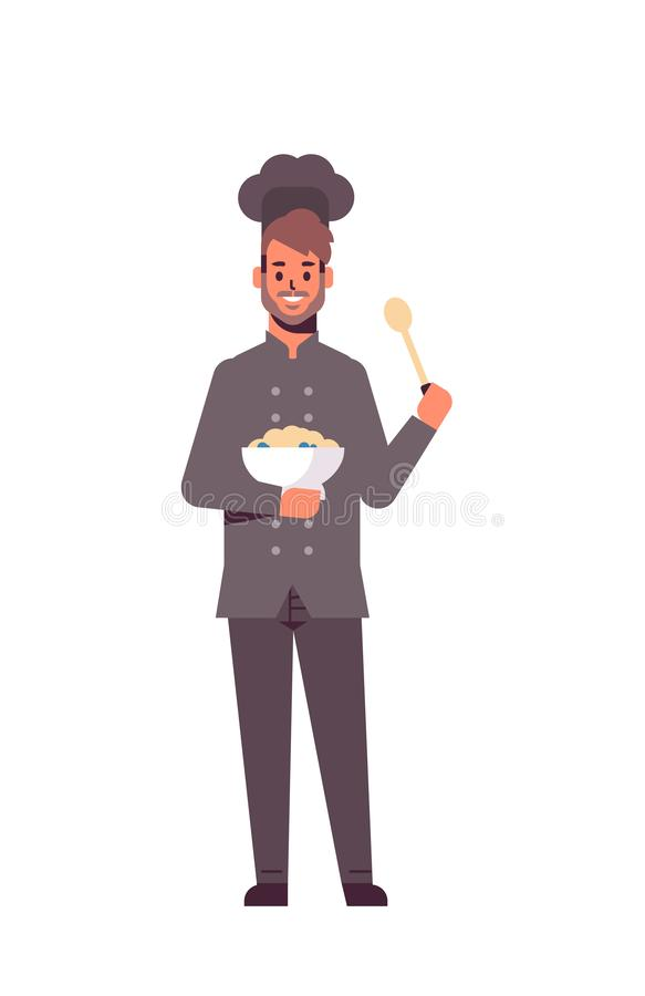 Male professional chef cook holding plate and spoon man restaurant worker in uniform tasting dish cooking food concept. Flat full length vertical vector vector illustration