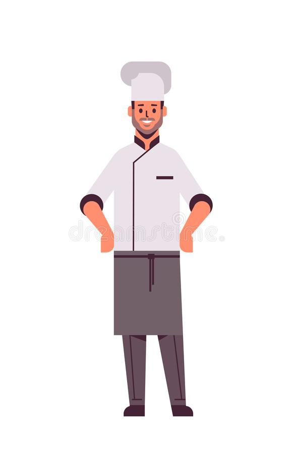 Male professional chef cook standing pose man restaurant kitchen worker in uniform cooking food concept flat full length. Vertical vector illustration royalty free illustration