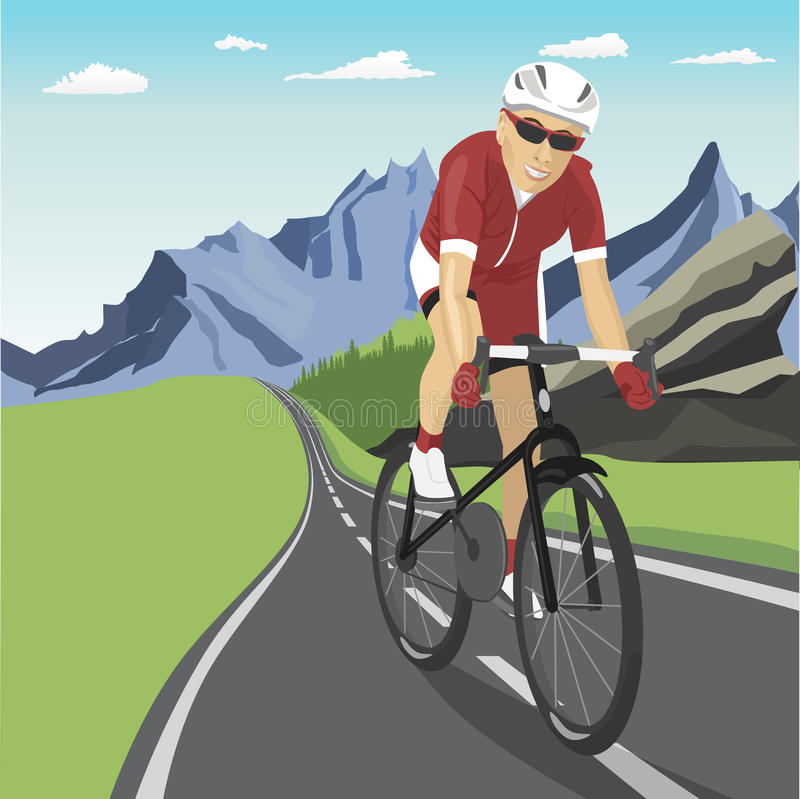 Male professional cyclist riding in mountains stock illustration