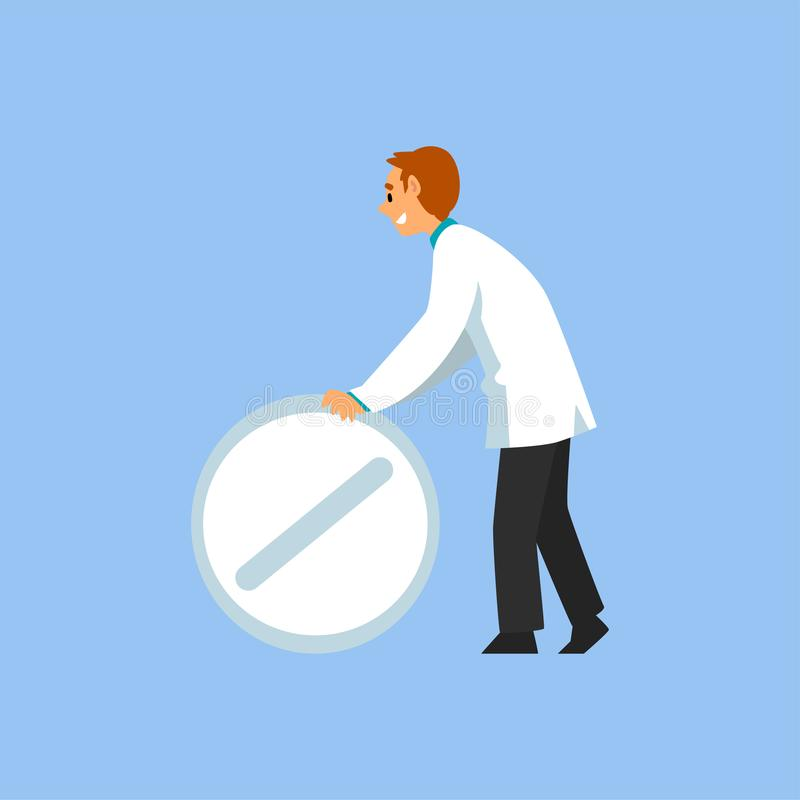 Male Professional Doctor Character with Big Pill, Worker of Medical Clinic or Hospital in White Lab Coat Vector stock illustration