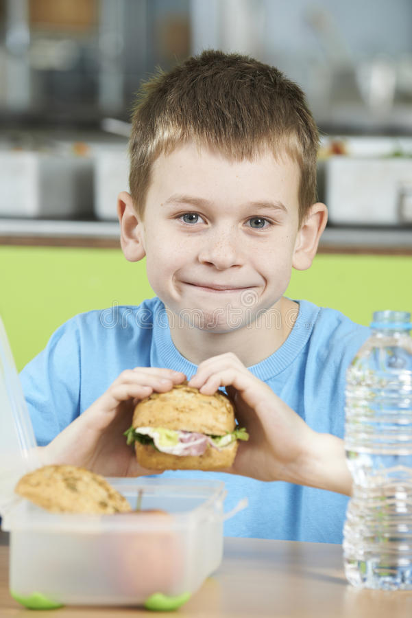 Male Pupil Sitting At Table In School Cafeteria Eating Healthy P. Portrait Of Male Pupil Sitting At Table In School Cafeteria Eating Healthy Packed Lunch royalty free stock image