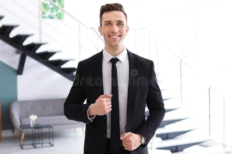 Male real estate agent. Indoors royalty free stock photos