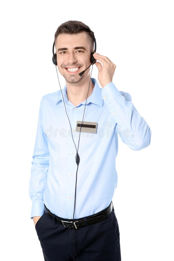 Male receptionist with headset. On white background stock photos