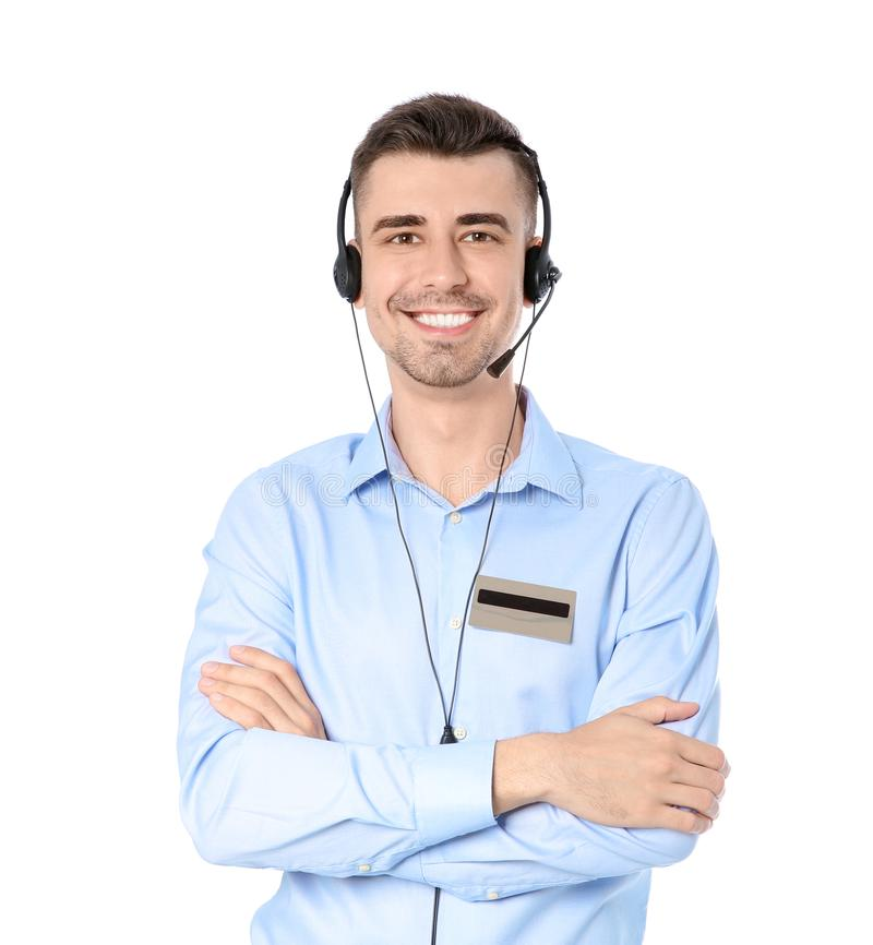 Male receptionist with headset. On white background royalty free stock photography