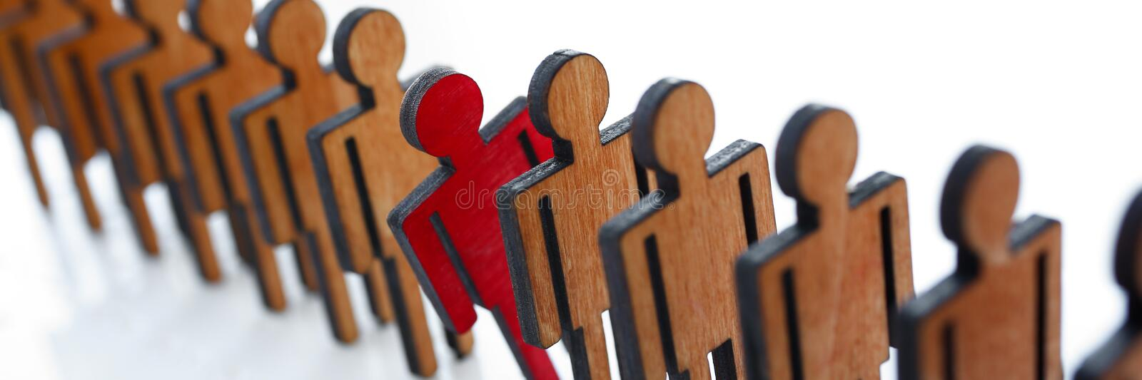 Male red plastic toy businessman silhouette. Wooden figure background closeup. Manipulate work recruitment transfer labour inspectorate experience exchange man stock images