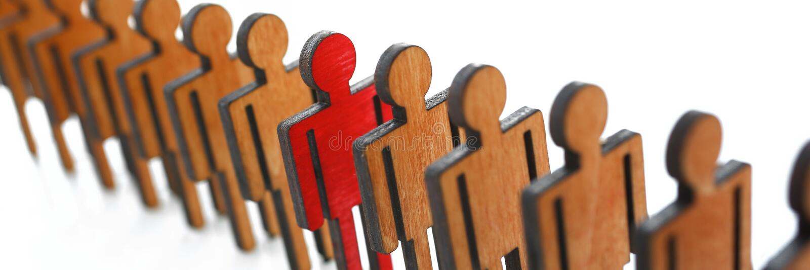 Male red plastic toy businessman silhouette. Wooden figure background closeup. Manipulate work recruitment transfer labour inspectorate experience exchange man stock photography