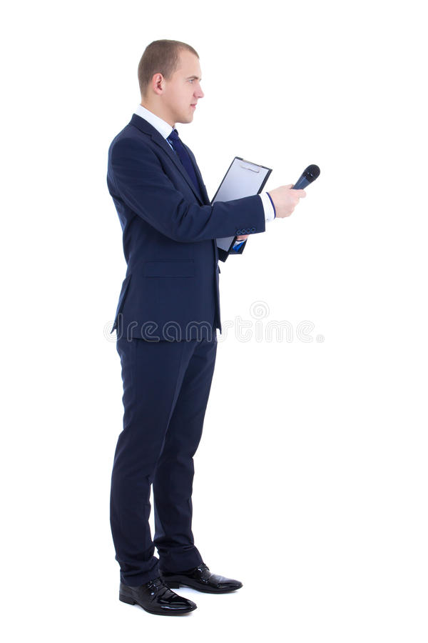 Male reporter with microphone and clipboard isolated on white. Background stock photos