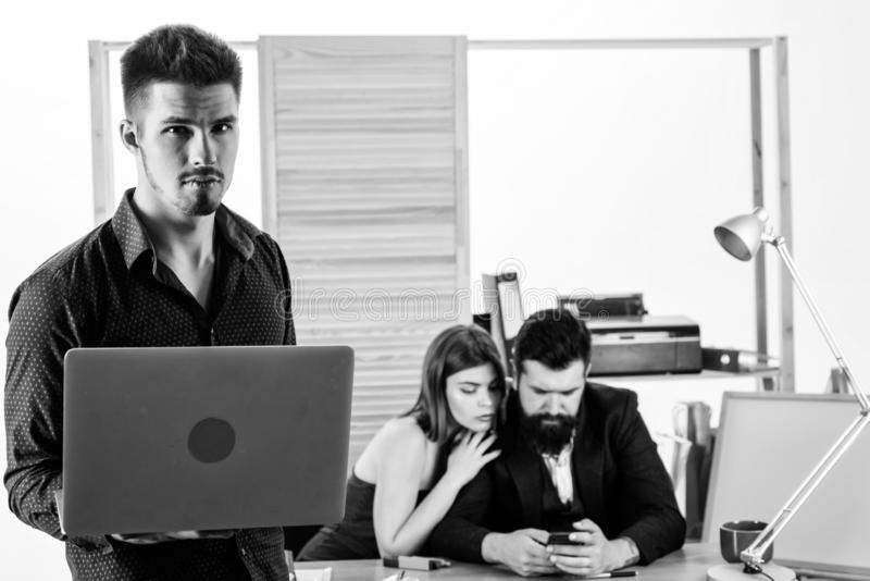 Male rivalry. Modern office life. Woman working in mostly male workplace. Woman attractive working with men. Office stock photo