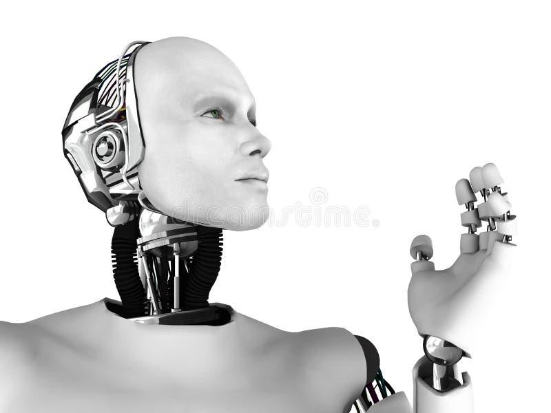 Male robot head in profile.