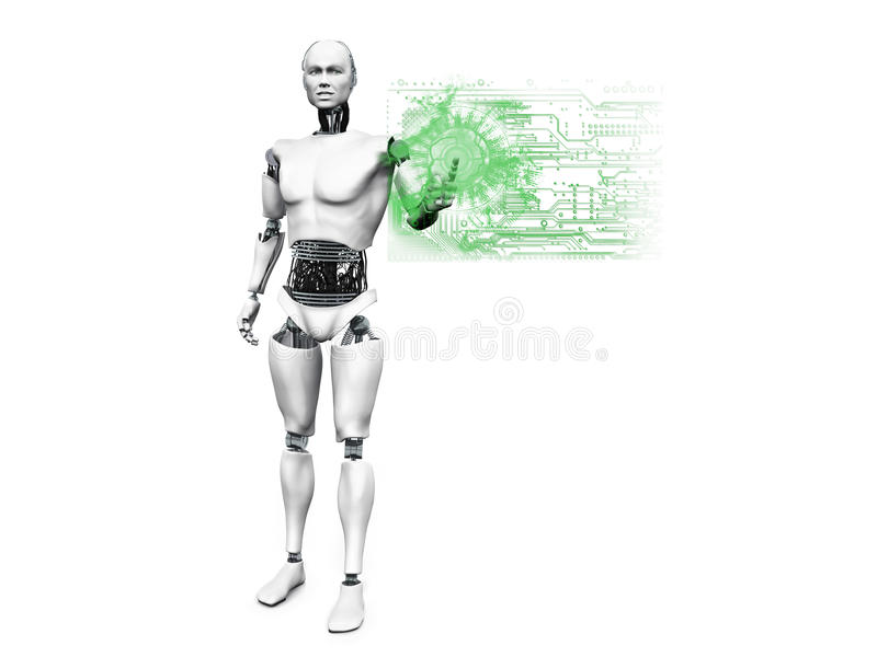 Male robot pushing technology button. royalty free illustration