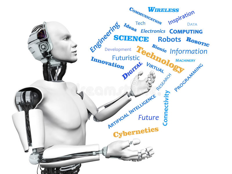 Male robot with technology theme word cloud. vector illustration